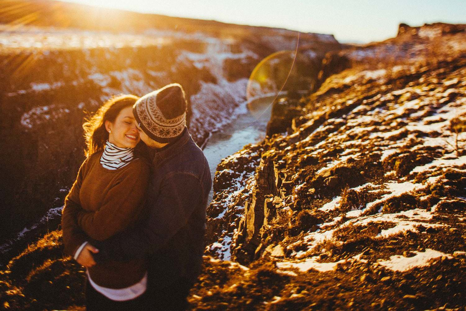 winter engagement session iceland