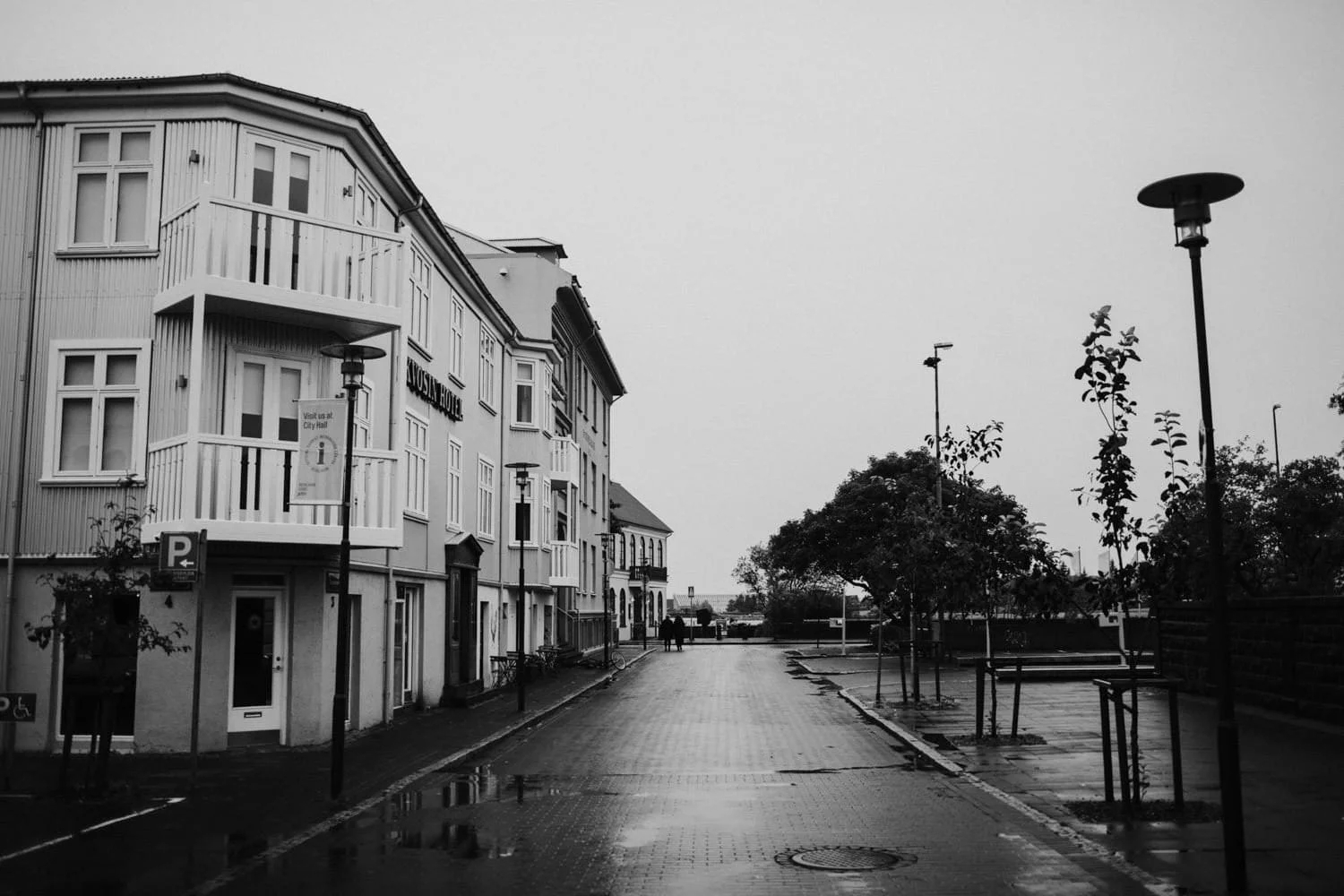 The streets of Reykjavik, Iceland, outside of Idno Theatre.